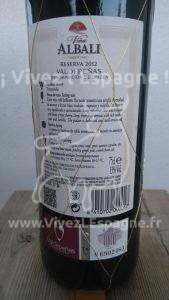 Vin Rouge Viña Albali Reserva Etiquette Dos