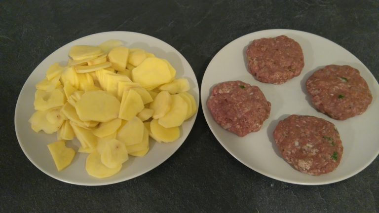 Hamburguesas et Pommes de terre prêt à cuire