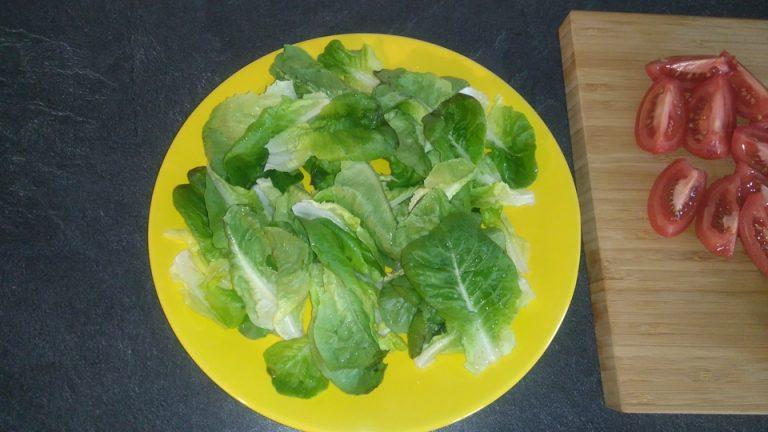 Lavez, essorez la salades puis découpez-la en petits morceaux