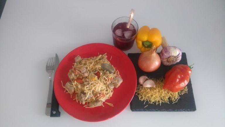 Fideuà Con Carne - Spaghetti Courts à la Viande