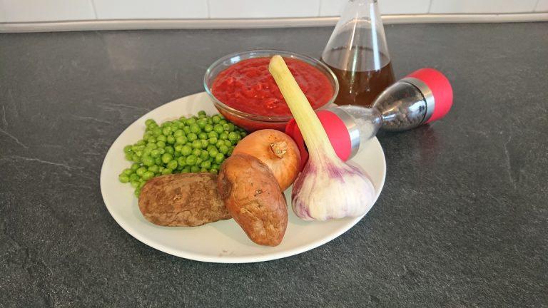 Ingrédients des Petits Pois Sauce Tomate - Petits Pois à la Sauce Tomate - Guisantes con Salsa de Tomate